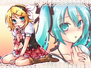 Rating: Safe Score: 51 Tags: 2girls blush hatsune_miku kagamine_rin kousetsu vocaloid User: anaraquelk2