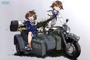 Rating: Safe Score: 47 Tags: 2girls brave_witches brown_eyes brown_hair gray gun karibuchi_hikari miyafuji_yoshika motorcycle scan school_uniform short_hair strike_witches takamura_kazuhiro watermark weapon User: RyuZU