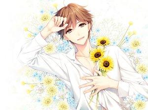 Rating: Safe Score: 4 Tags: all_male brown_hair flowers male original short_hair sunflower yuka_(mischief) User: mattiasc02