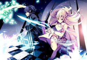Rating: Safe Score: 184 Tags: black_eyes black_hair blonde_hair gloves kirigaya_kazuto long_hair merontomari short_hair sword sword_art_online weapon yellow_eyes yuuki_asuna User: SciFi