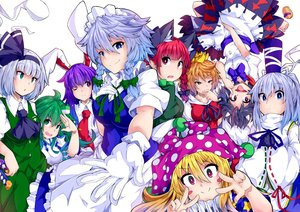 Rating: Safe Score: 77 Tags: animal_ears apron aqua_eyes black_hair blonde_hair blue_eyes blue_hair blush bow braids breasts bunny_ears bunnygirl catgirl close clownpiece collar fang gloves green_eyes green_hair group hat headband headdress horns ishimu izayoi_sakuya japanese_clothes kaenbyou_rin katana kijin_seija kochiya_sanae konpaku_youmu long_hair maid miko mononobe_no_futo myon orange_eyes orange_hair pink_eyes pointed_ears ponytail purple_hair red_eyes red_hair reisen_udongein_inaba ribbons short_hair skirt sword tie toramaru_shou touhou twintails uniform weapon white_hair wink User: otaku_emmy