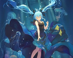 Rating: Safe Score: 96 Tags: animal aqua_hair atdan bubbles cropped deep-sea_girl_(vocaloid) dress fish hatsune_miku long_hair twintails underwater vocaloid water User: RyuZU