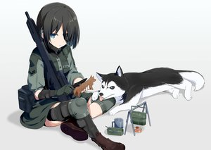 Rating: Safe Score: 49 Tags: animal aqua_eyes black_hair boots dog eyepatch gloves gun knife military original short_hair tagme_(artist) weapon User: luckyluna