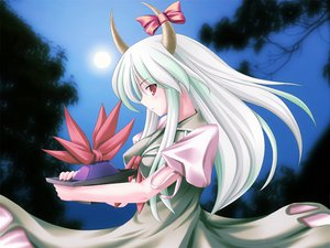 Rating: Safe Score: 9 Tags: ex_keine gray_hair green_hair hat horns kamishirasawa_keine long_hair moon ribbons sky touhou User: Oyashiro-sama
