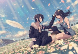 Rating: Safe Score: 39 Tags: animal black_hair brown_hair clouds dog feathers final_fantasy final_fantasy_viii flowers gloves grass long_hair male necklace rinoa_heartilly short_hair shorts sky squall_leonhart tagme_(artist) User: BattlequeenYume