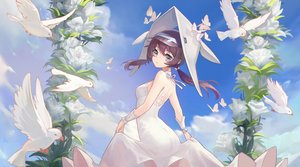 Rating: Safe Score: 58 Tags: animal arknights bird brown_eyes brown_hair butterfly clouds dress flowers hat headdress long_hair purestream_(arknights) sky tears twintails wristwear yizhibao User: sadodere-chan