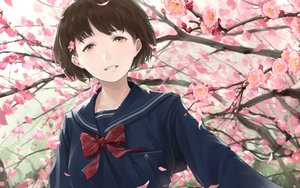 Rating: Safe Score: 20 Tags: bow brown_hair cherry_blossoms close flowers original petals pink_eyes school_uniform short_hair somehira_katsu User: RyuZU