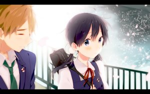 Rating: Safe Score: 50 Tags: black_hair blue_eyes blush bow kitashirakawa_tamako ooji_mochizou petals school_uniform tamako_market tie twintails User: Stealthbird97