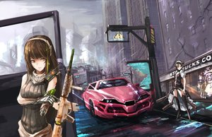 Rating: Safe Score: 56 Tags: anthropomorphism brown_eyes brown_hair car girls_frontline m4a1_(girls_frontline) robot ruins tagme_(artist) weapon User: luckyluna