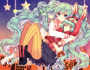 Rating: Safe Score: 73 Tags: animal_ears aqua_eyes blush boots bunny_ears gloves green_hair hatsune_miku hoodie hug ikeuchi_tanuma kneehighs long_hair lots_of_laugh_(vocaloid) pantyhose seifuku skirt socks twintails vocaloid User: otaku_emmy
