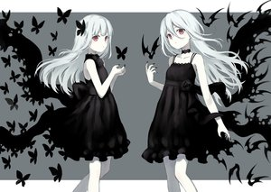 Rating: Safe Score: 47 Tags: 104 2girls animal bat bow butterfly choker dress gothic long_hair original polychromatic red_eyes ribbons white_hair User: BattlequeenYume