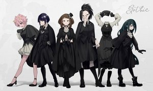 Rating: Safe Score: 91 Tags: aliasing ashido_mina asui_tsuyu black_hair boku_no_hero_academia boots brown_eyes brown_hair gloves gothic gradient green_hair group hagakure_tooru jirou_kyouka maneki-neko_(fujifuji) pantyhose pink_hair ponytail short_hair signed uraraka_ochako yaoyorozu_momo User: RyuZU
