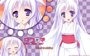 Rating: Safe Score: 37 Tags: animal_ears blush foxgirl mito_mashiro moekibara_fumitake purple_eyes tail tayutama white_hair User: chibifaye