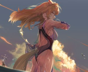 Rating: Safe Score: 50 Tags: animal animal_ears arknights ass bird breasts brown_eyes brown_hair clouds koio long_hair nearl_(arknights) shining_(arknights) sky swimsuit tail water User: RyuZU