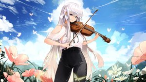 Rating: Safe Score: 28 Tags: aliasing butterfly clouds flowers instrument kooemong long_hair original sky violin white_hair User: BattlequeenYume