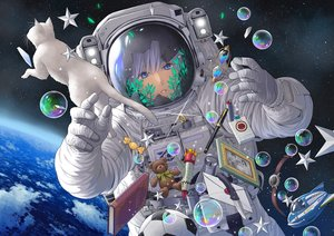 Rating: Safe Score: 50 Tags: ball blue_eyes book bubbles clouds earth knife minami_(minami373916) original planet purple_hair space stars tears User: RyuZU