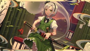 Rating: Safe Score: 66 Tags: building goback gray_hair headband katana konpaku_youmu myon short_hair skirt sword touhou weapon wristwear User: Dreista