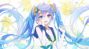Rating: Safe Score: 40 Tags: blue_eyes blue_hair food fruit hatsune_miku long_hair osagelts1213 twintails vocaloid water User: FormX