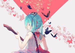 Rating: Safe Score: 86 Tags: aqua_eyes aqua_hair butterfly guitar hatsune_miku instrument ryuutsuki_basetsu twintails vocaloid User: FormX