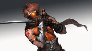 Rating: Safe Score: 22 Tags: all_male armor brown_hair cain_(gunnermul) gloves gradient katana male mask ninja original scarf short_hair sword tattoo weapon yellow_eyes User: mattiasc02