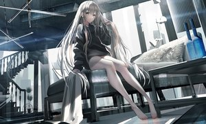 Rating: Safe Score: 55 Tags: barefoot bed building city gray_hair long_hair original stairs swav User: BattlequeenYume
