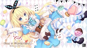 Rating: Safe Score: 52 Tags: alice_in_wonderland alice_(wonderland) apron aqua_eyes blonde_hair corset dress food headband lolita_fashion long_hair mitha stockings waifu2x watermark User: otaku_emmy
