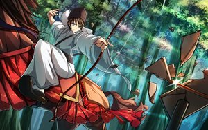 Rating: Safe Score: 44 Tags: all_male animal bow_(weapon) brown_hair forest gray_eyes hat horse japanese_clothes male original riburanomind short_hair tree weapon User: Flandre93