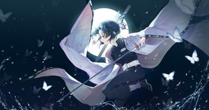 Rating: Safe Score: 66 Tags: 00suger001 butterfly katana kimetsu_no_yaiba kochou_shinobu moon sword water weapon User: FormX