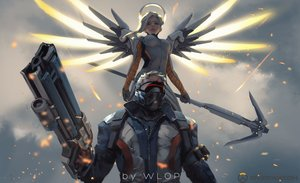 Rating: Safe Score: 75 Tags: gun jpeg_artifacts logo male mercy_(overwatch) overwatch soldier:_76 watermark weapon wings wlop User: RyuZU