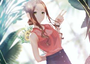 Rating: Safe Score: 29 Tags: brown_hair enogu_channel flowers long_hair natsume_haru skirt tunamayochan wristwear yellow_eyes User: RyuZU