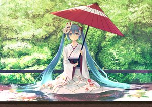 Rating: Safe Score: 134 Tags: aqua_eyes aqua_hair hatsune_miku japanese_clothes kimono long_hair mask nishin_(nsn_0822) paper petals tree twintails umbrella vocaloid User: otaku_emmy