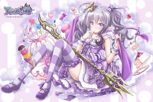 Rating: Safe Score: 18 Tags: akino_coto bow cake candy crown dress food gray_hair ice_cream logo lolita_fashion long_hair original pointed_ears purple_eyes tail thighhighs twintails weapon wings User: BattlequeenYume