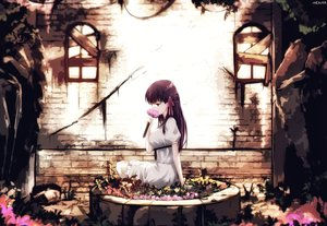Rating: Safe Score: 74 Tags: dress dyolf fate_(series) fate/stay_night flowers long_hair matou_sakura purple_eyes purple_hair ribbons summer_dress watermark User: RyuZU