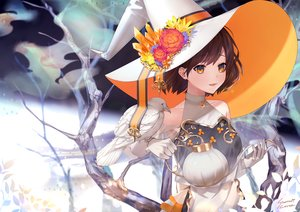 Rating: Safe Score: 48 Tags: animal bird brown_hair hat orange_eyes original short_hair signed simanerikotton witch_hat User: sadodere-chan