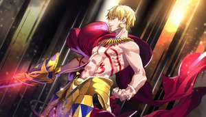 Rating: Safe Score: 33 Tags: all_male armor blonde_hair cape fate/grand_order fate_(series) gilgamesh male necklace red_eyes short_hair sword tattoo tenobe topless weapon User: otaku_emmy