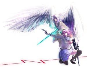 Rating: Safe Score: 63 Tags: angel_beats! green_eyes gun long_hair nakamura_yuri pink_hair ribbons school_uniform short_hair tachibana_kanade thighhighs weapon white_hair wings yellow_eyes User: Tensa