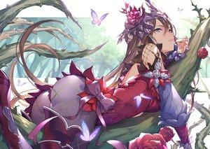 Rating: Safe Score: 124 Tags: ass brown_hair butterfly flowers granblue_fantasy kakage long_hair purple_eyes rose rosetta_(granblue_fantasy) User: BattlequeenYume