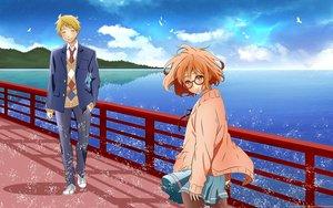 Rating: Safe Score: 20 Tags: blonde_hair brown_eyes clouds glasses kanbara_akihito kuriyama_mirai kuzakawe_maron kyoukai_no_kanata male scenic school_uniform water User: gnarf1975