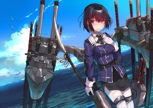 Rating: Safe Score: 30 Tags: animal anthropomorphism bird black_eyes black_hair blush clouds gloves haguro_(kancolle) kantai_collection katana military ribbons short_hair sky spear sword tagme_(artist) tears thighhighs uniform water weapon User: BattlequeenYume