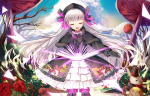 Rating: Safe Score: 42 Tags: animal apple book bow clouds dress fate/extra fate_(series) flowers food fruit gloves goth-loli gray_hair hat headdress ji_dao_ji loli lolita_fashion long_hair nursery_rhyme_(fate/extra) petals rabbit sky tree User: RyuZU