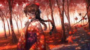 Rating: Safe Score: 50 Tags: autumn blue_eyes braids brown_hair forest glasses japanese_clothes ji_dao_ji kimono leaves long_hair nijisanji shrine tree tsukino_mito twintails User: otaku_emmy