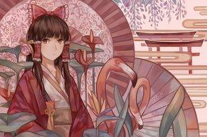 Rating: Safe Score: 59 Tags: animal bird bow brown_hair flowers hakurei_reimu japanese_clothes kimono long_hair miko red_eyes torii touhou zicai_tang User: luckyluna