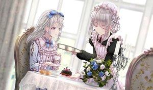 Rating: Safe Score: 51 Tags: 2girls apple228 cake drink flowers food gray_hair lolita_fashion maid original purple_eyes rose User: BattlequeenYume