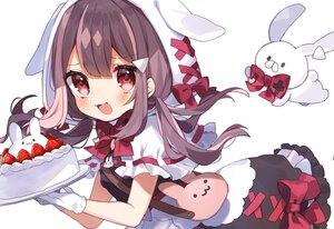 Rating: Safe Score: 42 Tags: animal_ears blush bow brown_hair bunny bunny_ears cake cape cat_smile dress food fruit gloves hoodie lolita_fashion long_hair noi_mine red_eyes ribbons strawberry twintails uchamochi_mochi white User: otaku_emmy