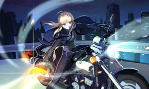 Rating: Safe Score: 61 Tags: blonde_hair blue_eyes city fate/stay_night gloves long_hair motorcycle night ponytail saber suit sword tie vmax-ver weapon User: Flandre93