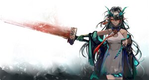 Rating: Safe Score: 55 Tags: arknights black_hair dress dusk_(arknights) horns jpeg_artifacts long_hair pointed_ears red_eyes sketch sword tagme_(artist) weapon User: Maboroshi