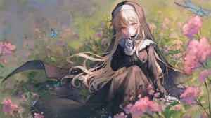 Rating: Safe Score: 63 Tags: brown_eyes brown_hair butterfly flowers long_hair maccha_(mochancc) nijisanji nun sister_cleaire User: BattlequeenYume