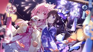 Rating: Safe Score: 158 Tags: 2girls animal brown_hair fan festival fireworks fish honkai_impact japanese_clothes lolita_fashion pink_eyes pink_hair purple_eyes summer tagme_(artist) tagme_(character) yukata User: 金刚光