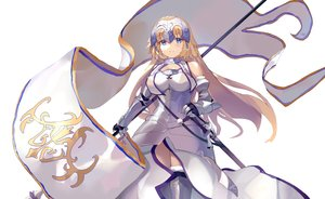 Rating: Safe Score: 35 Tags: armor blonde_hair blue_eyes blush fate/grand_order fate_(series) jeanne_d'arc_(fate) long_hair same_(sendai623) sword weapon white User: BattlequeenYume