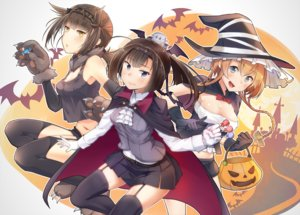 Rating: Safe Score: 28 Tags: akizuki_(kancolle) animal anthropomorphism bat blonde_hair blush bow braids breasts brown_hair candy cape elbow_gloves garter_belt gloves halloween hat hatsuzuki_(kancolle) headband kantai_collection liking lollipop long_hair navel pumpkin short_hair silhouette skirt teruzuki_(kancolle) thighhighs wings witch_hat yellow_eyes User: RyuZU